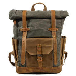 Vintage Leather Outdoor Sport Bag Waterproof Canvas Roll Top Laptop Travel Backpack RS-9108kd)