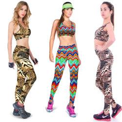 Hot Sale Women Fashion Nylon Printed Sport Yoga Bras Panty Sets