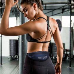 Sh1816 Adjustable Fanny Bounce Free Waist Pouch Black Unisex Nylon Waterproof Running Fitness Fanny Pack Sports Belt Bag
