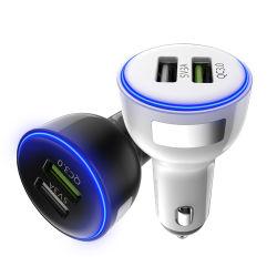 Portable Mini Dual Port QC3.0 USB Car Charger Adapter