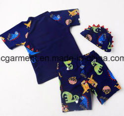 Kids Boy Swimming Suit. Cartoon Printed T-Shirts and Pants