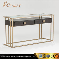 Solid Wood Drawers Gl Top Hotel Console Table Living Room Furniture