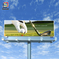 Highway Large Pillar Billboard Double Sides with LED Spotlight Aluminum Material