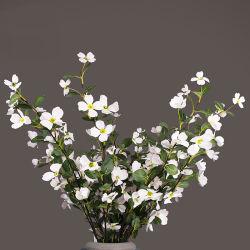 Silk Cloth Two Forked Medlar Flowers Artificial Flower, White Fake Flower,  Medlar Artificial Flower