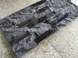 Black Wooden Grain Marble Wall Decoration Stacked Ledge Culture Stone for Wall Stone Panel