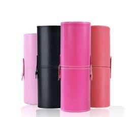 Cylinder Shape PU Leather Makeup Brushes Case (C543)