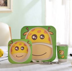 5 Pieces Bamboo Fiber Child Tableware Compostable Baby Dinnerware Set