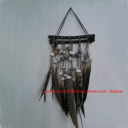 Wall Hanging Decorations /Haning Craft /Stone, Feather and Wood Hanging Fengshui Art Decoration /Wall Hanging and Decor Feather Tribal Home Decor Flair