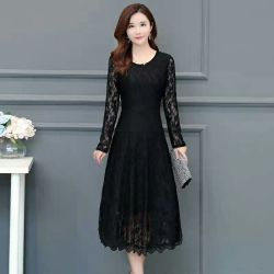 f02a564f6151 Wholesale High Quality Casual Long Sleeve Over Knee Girls Vintage Lace Dress