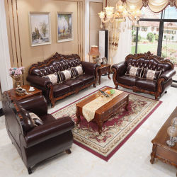 Factory Wholesale Royal Wood Leather Sofa with Wooden Coffee Table