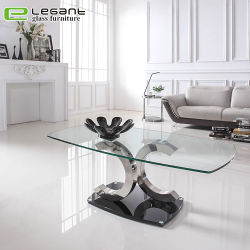 Stainless Steel Base Living Room Clear Glass Center Table