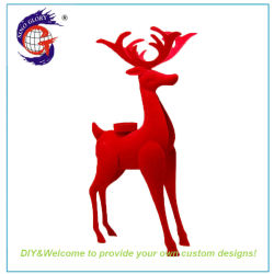 c6950c0308b Beautiful Unique Metal Decorative Christmas Red Reindeer Candle Holder