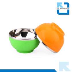 Heart Pattern Colorful Children Stainless Steel Rice Bowls and Plastic Bowls Wholesale