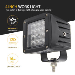 5000 Lumens Wholesale LED Work Light, 2 Colors 3000K 6500K Strobe Burst Flashing 4inch 72W LED Work Light 12V for Offroad