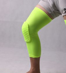 Knee Leg Support Gear with Pads, Strengthen Breathable Kneepad Honeycomb Pad Crashproof Antislip Basketball Leg Knee Long Sleeve