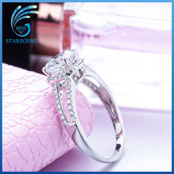 18K White Gold Plated High Quality Cubic Zirconia Silver Ring for Sale