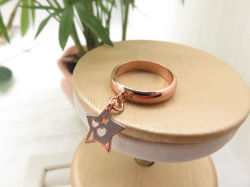 Real Gold Over Cooper Dangle Hollow Star Metal Jewelry Ring