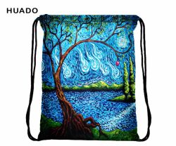 Huado Colorful Drawstring Bag Waterproof Travel Backpack Sport Gym Bag Yoga Runner