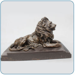 Wholesale Garden Decorative Metal Animal Sculptures Cast Brass Lion Statue