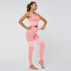 Striped Seamless Yoga Sets Sports Clothing for Women Knitted Hip Lifting Tight Leggings Sleeveless