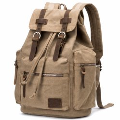 1069835c7b Leather Trim Travelling Hiking Laptop Canvas Backpack