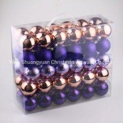 Plastic Christmas Ball Shiny Matt Glitter Pack in PVC Box