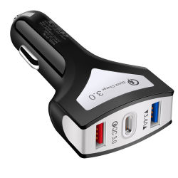 QC3.0 USB Car Charger 2 USB Port with Type C