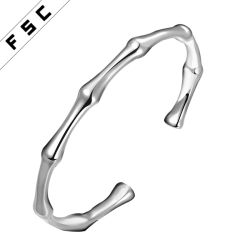 European Style Bamboo Shape Silver Plated Copper Bangle Bracelets