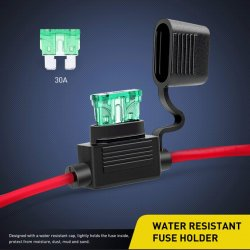 ni-fh01 inline holder 14awg wiring harness atc/ato 30amp blade automotive  fuse holder
