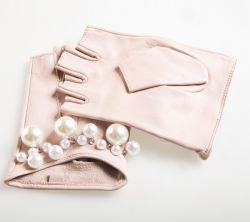 Lady Fashion Sheepskin Leather Fingerless Gloves with Pearls (YKY5077)