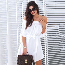2019 New Women Sexy Slash Neck Solid Color off Shoulder Beach Dress Ruffled Half Sleeves Bow Loose Casual Belt Bohemia Dresses
