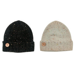 5e732d0c8bf Lady Winter Warm Fashion Knitting Confetti Roving Hat Cap with Wood Button