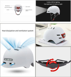 White Head Protective Helmet Hard Hat with LED Lighting for Real-Time Positioning/Track Playback/Electronic Fence/Voice Pickup
