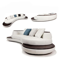 2017 Hot-Selling Modern White Leather Sofa with Chaise (HC1069)