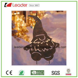 metal christmas santa with rustic garden stake for outdoor decoration