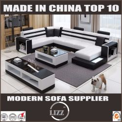 European Style Furniture Faux Leather Sofa with Coffee Table