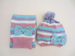 bcd54e1cf90 Baby Girls Mutiple Color Stripe Jacquard Knitted Winter Beanie Toque Hat  Scarf Set with Bowtie