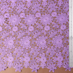 Purple Polyester Embroidered Guipure Bridal Wedding Fabric Lace