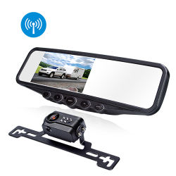 "4.3"" Digital Wireless Rearview Car TFT LCD Monitor Mirror with Waterproof Reverse License Plate Camera"