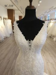 2018 Hot Sexy White Sequin Lace Applique Mermaid Wedding Dress