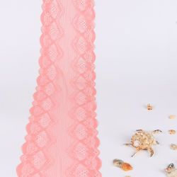 Pink French Lace Elastic Trimming Lace