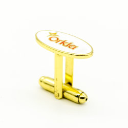 Customized Fashion High Polished Metal Enamel Mens Sterling Silver Cuff Links Custom Design Movement Stainless Steel Novelty Bulk Gold Plated Metal Cufflink