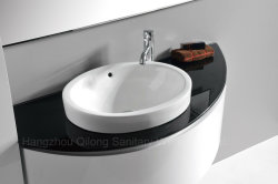 PVC Wall-Mounted Waterproof Bathroom Cabinet with Ceramic