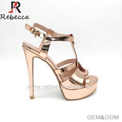 e4abefbac4bb60 OEM Lady Sandals Handmade Patent Leather Platform Stilettos Wholesale