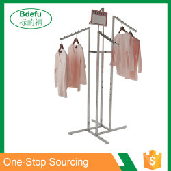 Heavy Duty Chrome Adjustable Arms Square Tubing 4 Way Clothing Rack For Store