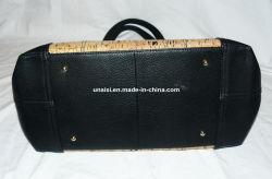Custom Cork PU Leather Ladies Tote Bag with Zipper Closure