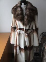 Rex Sheared Sable Collar Fur Coat (SS8629)