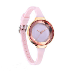 Simple Pretty Women Silicone Band Quartz Watch for Sport Waterproof