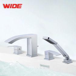 Jiangmen Factory Wholesale Roman Tub Filler 4 Holes Bathtub Shower Mixer Tap with Hand Shower