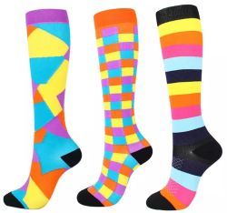 Factory Sale Cotton Polyester Polyamide Spandex Nylon Compression Socks Knee High Athletic Sock Sports Socks